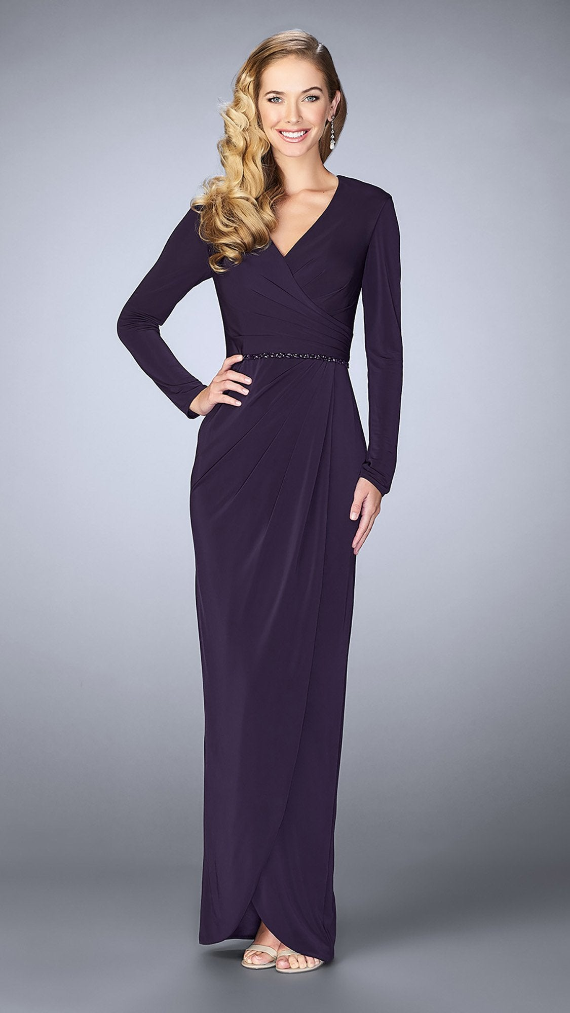 La Femme - 24927SC Long Bead-Crowned Wrap Sheath Dress