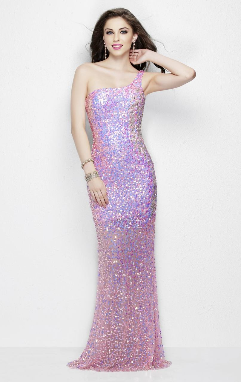 Primavera - 9988 Asymmetrical Sequined Evening Gown in Pink