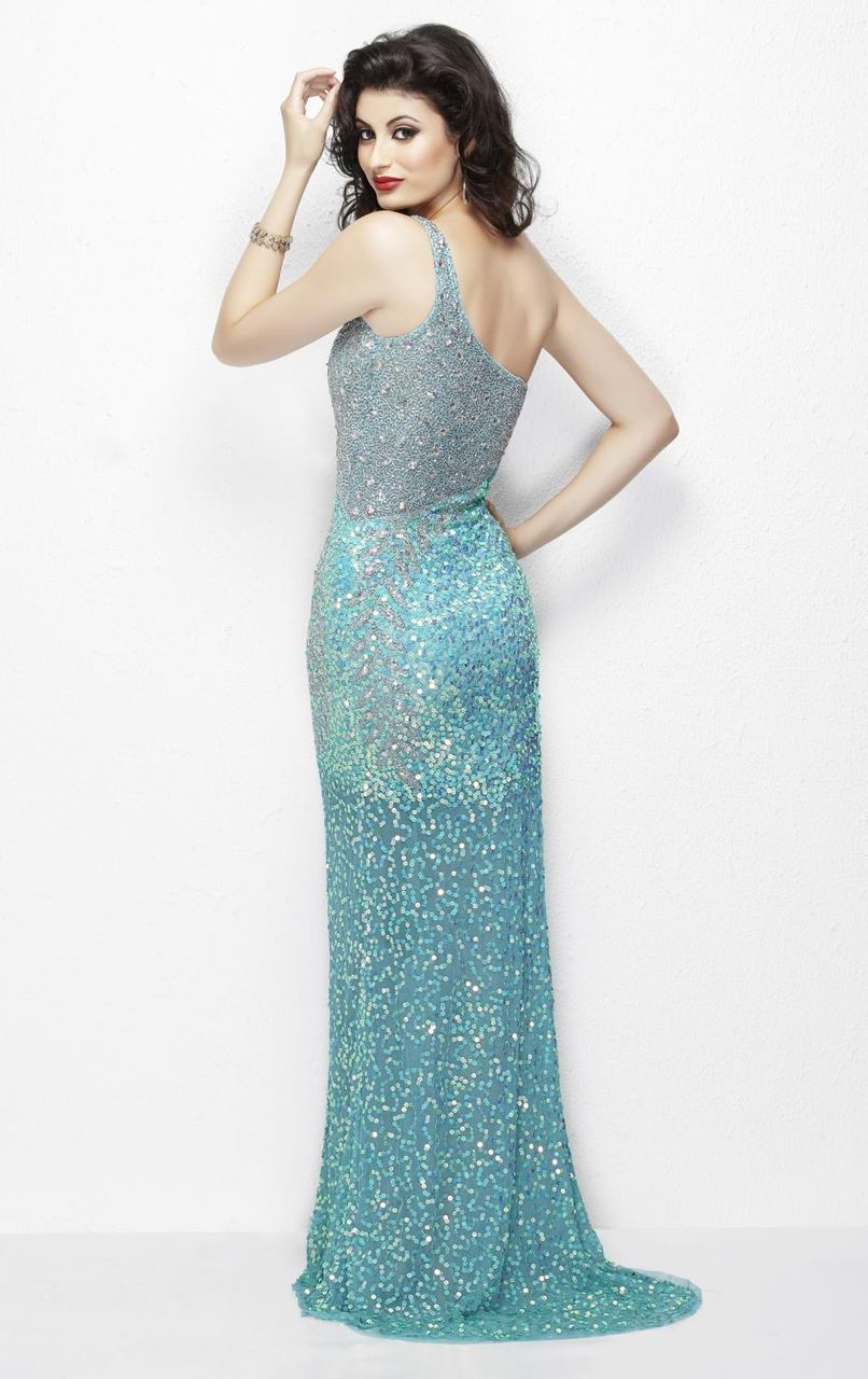 Primavera - 9988 Asymmetrical Sequined Evening Gown in Blue