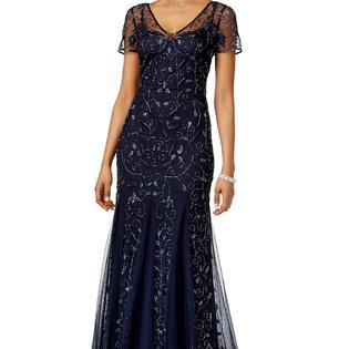Adrianna Papell - 91918840 Beaded Illusion V-neck Sheath Dress in Blue