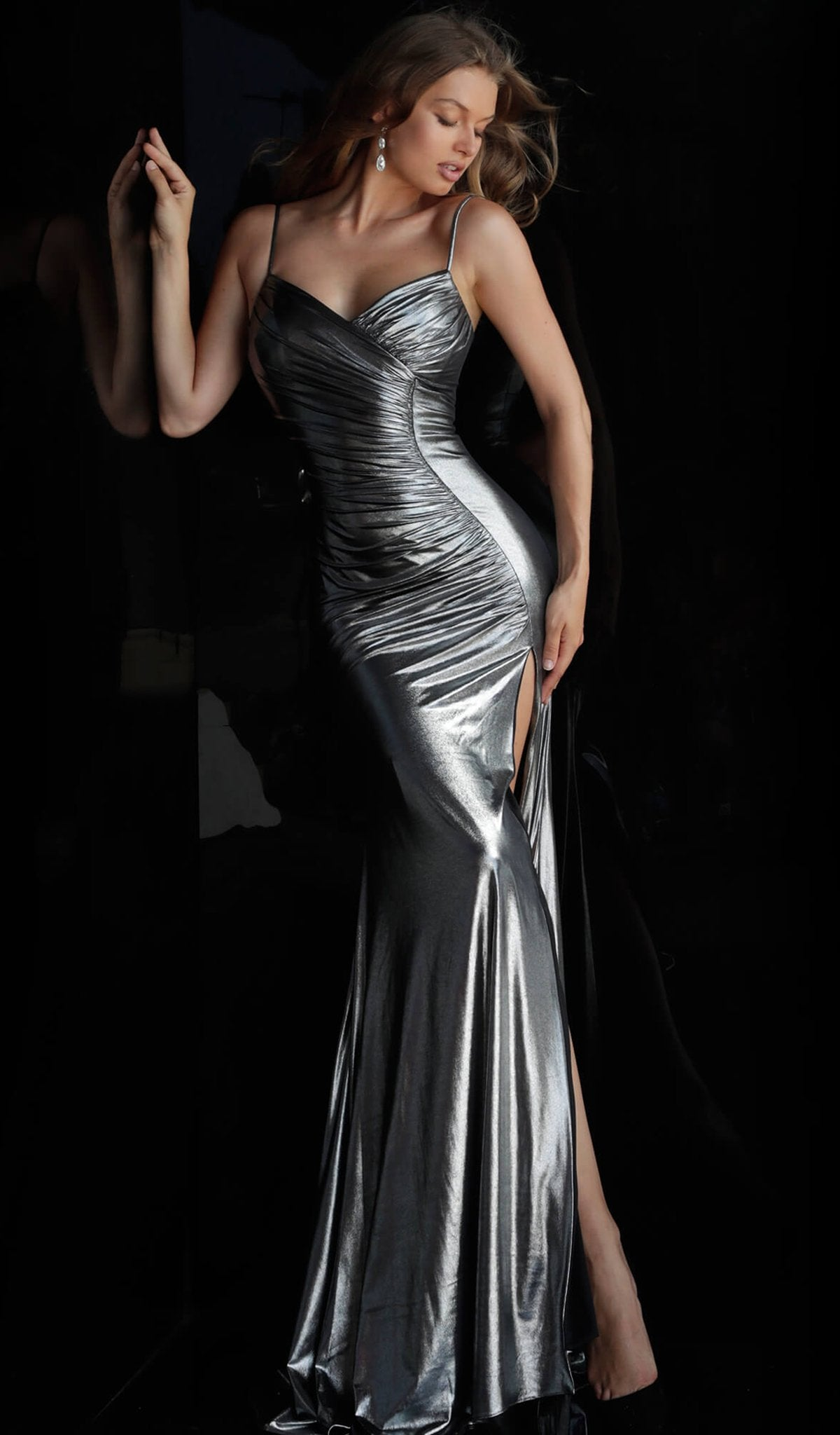 Jovani - 57990 Ruched Sweetheart Metallic Sheath Gown in Silver
