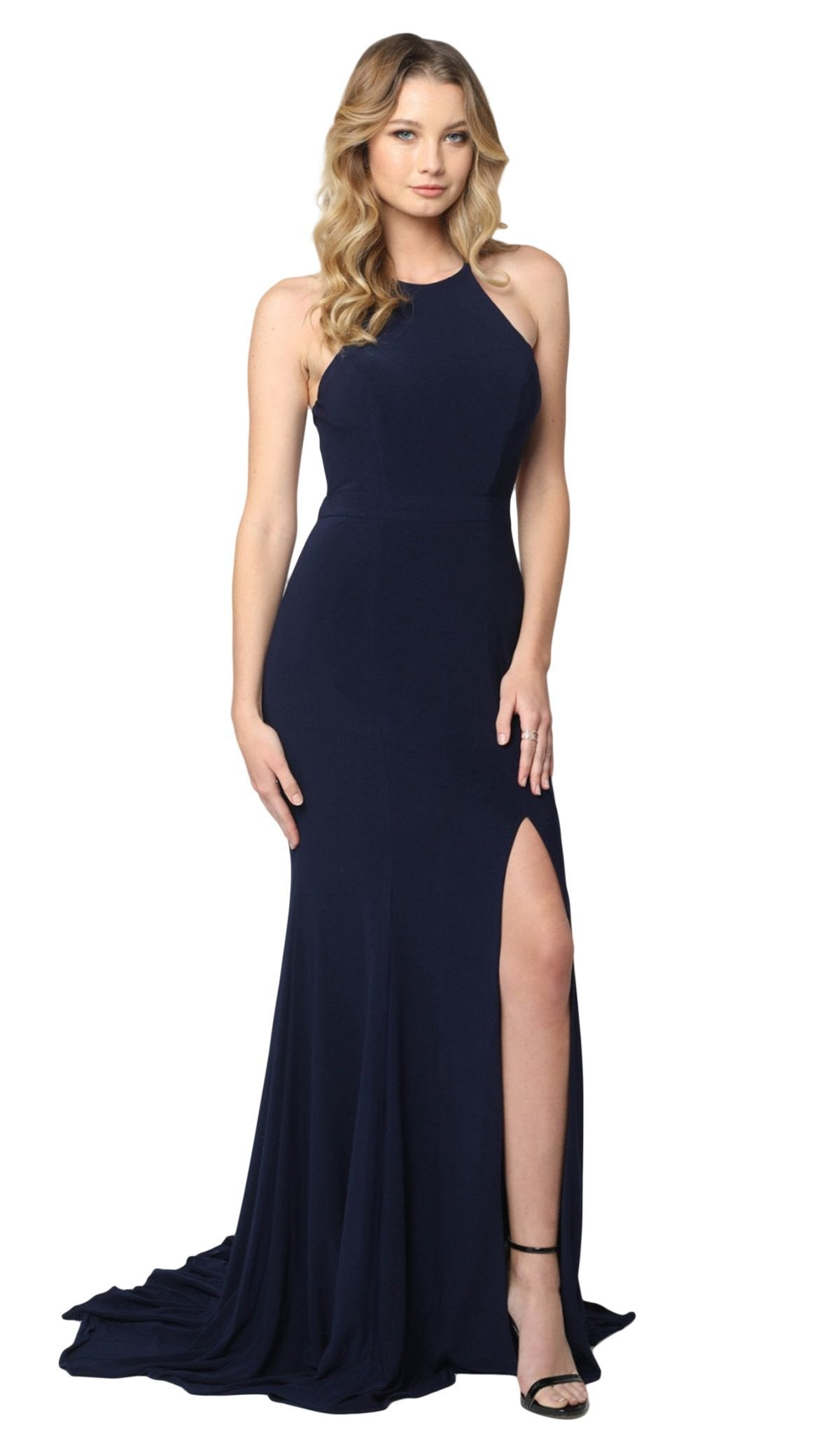 Nox Anabel - Q131 High Halter Georgette Mermaid Gown with Slit In Blue