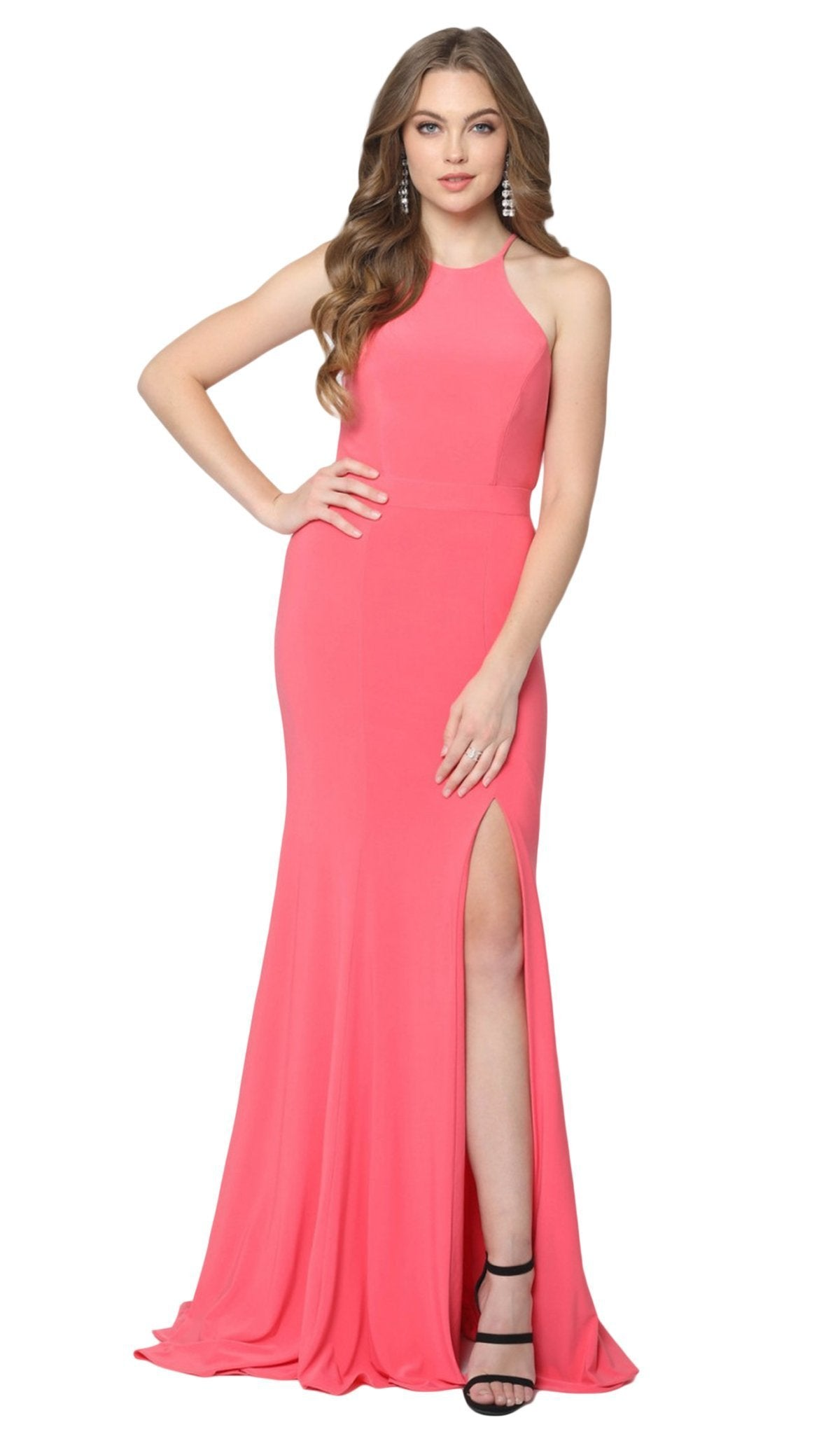 Nox Anabel - Q131 High Halter Georgette Mermaid Gown with Slit In Orange and Pink