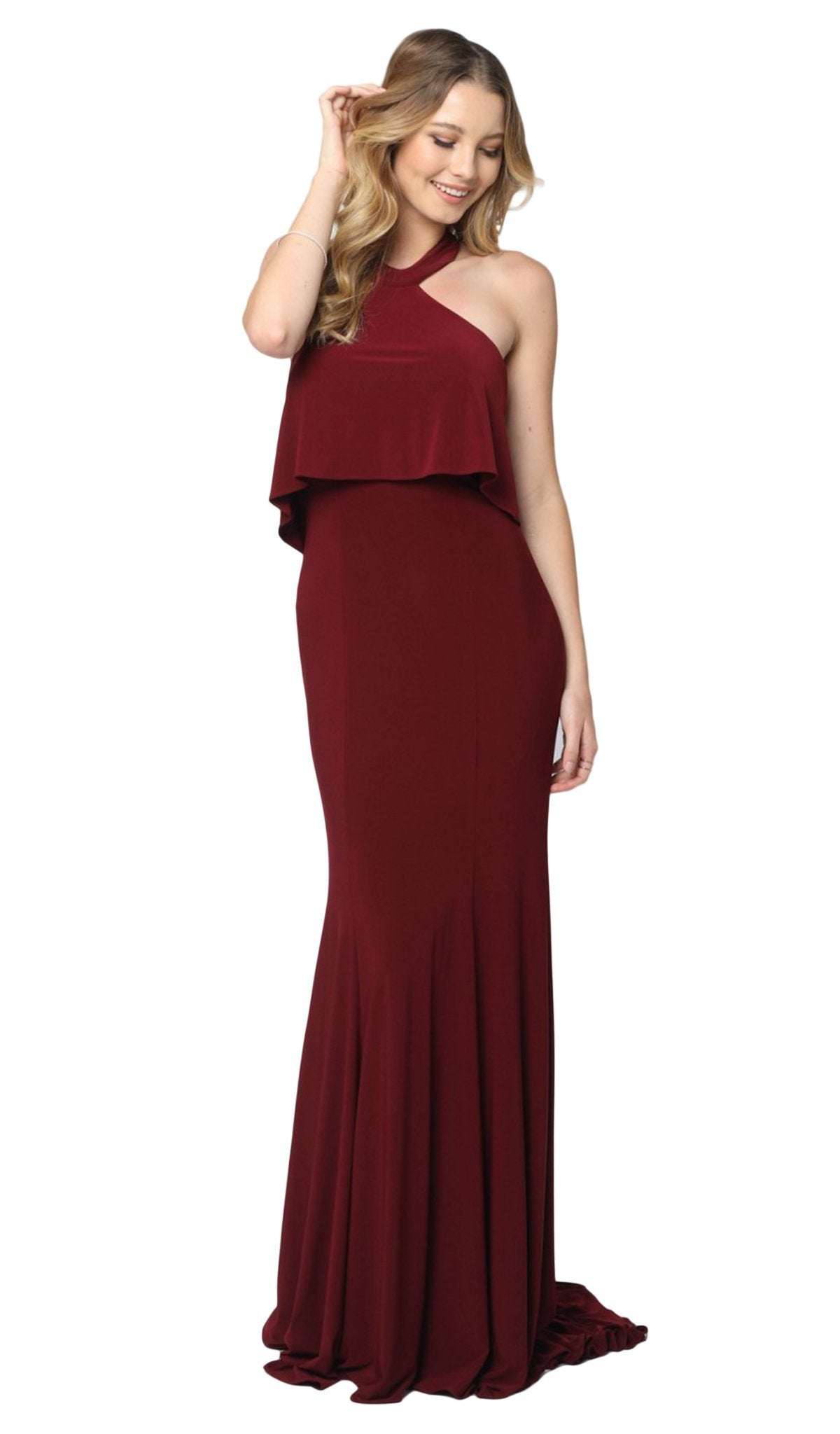 Nox Anabel - Q132 Halter Neck Trumpet Dress With Sweep Train In Red