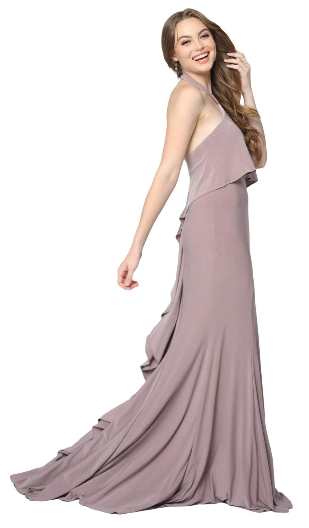 Nox Anabel - Q132 Halter Neck Trumpet Dress With Sweep Train In Pink