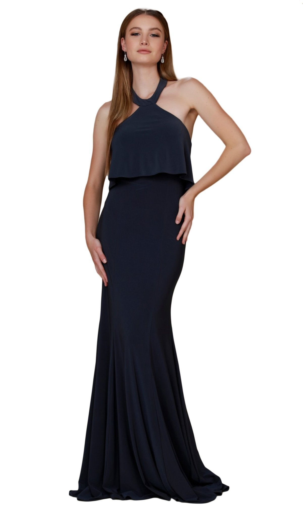 Nox Anabel - Q132 Halter Neck Trumpet Dress With Sweep Train In Blue
