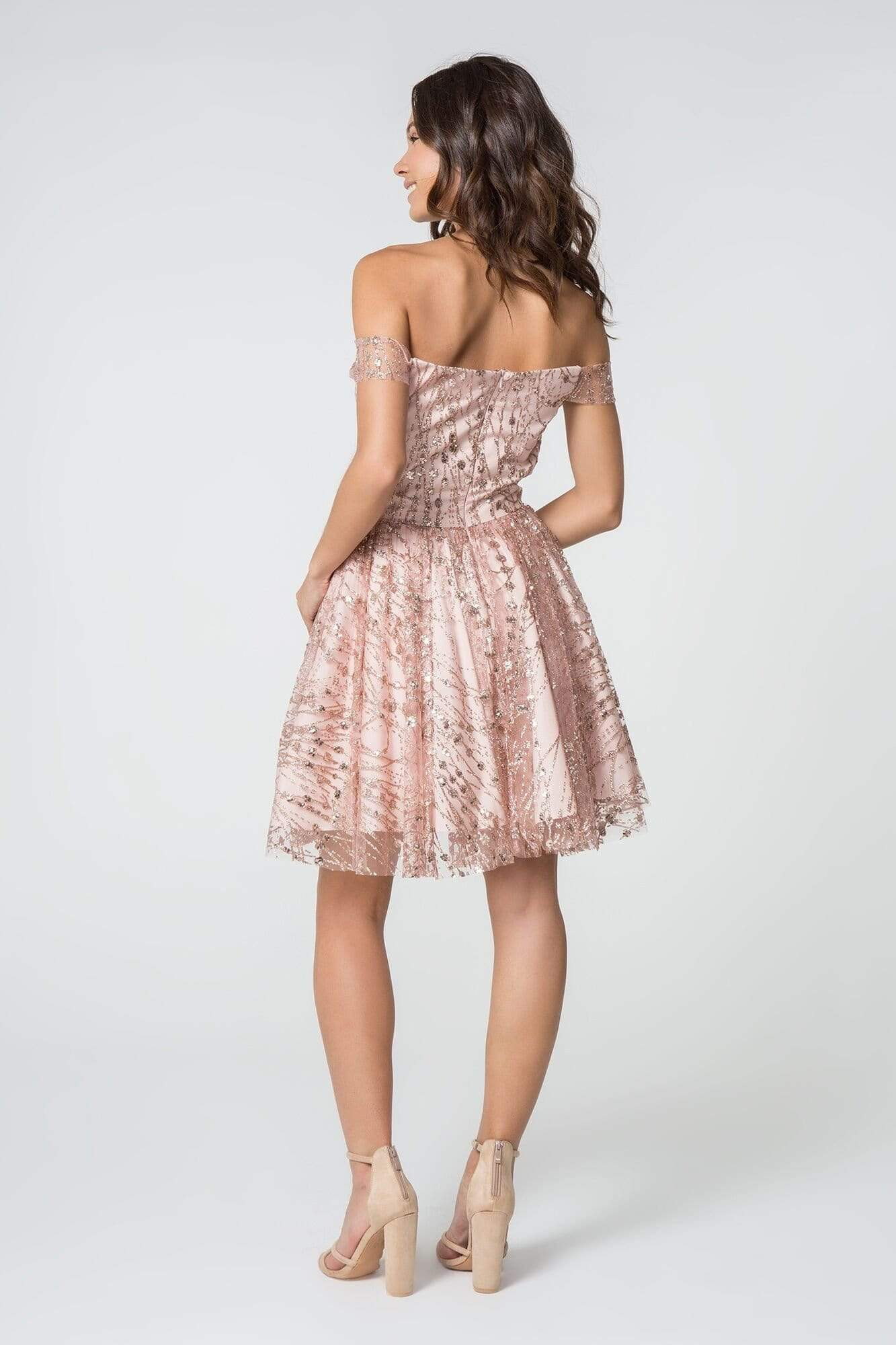 Elizabeth K - GS2833 Glitter Off-Shoulder A-Line Cocktail Dress Homecoming Dresses