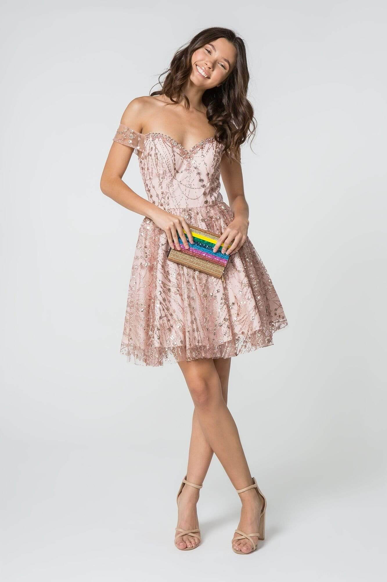 Elizabeth K - GS2833 Glitter Off-Shoulder A-Line Cocktail Dress Homecoming Dresses XS / Rose Gold