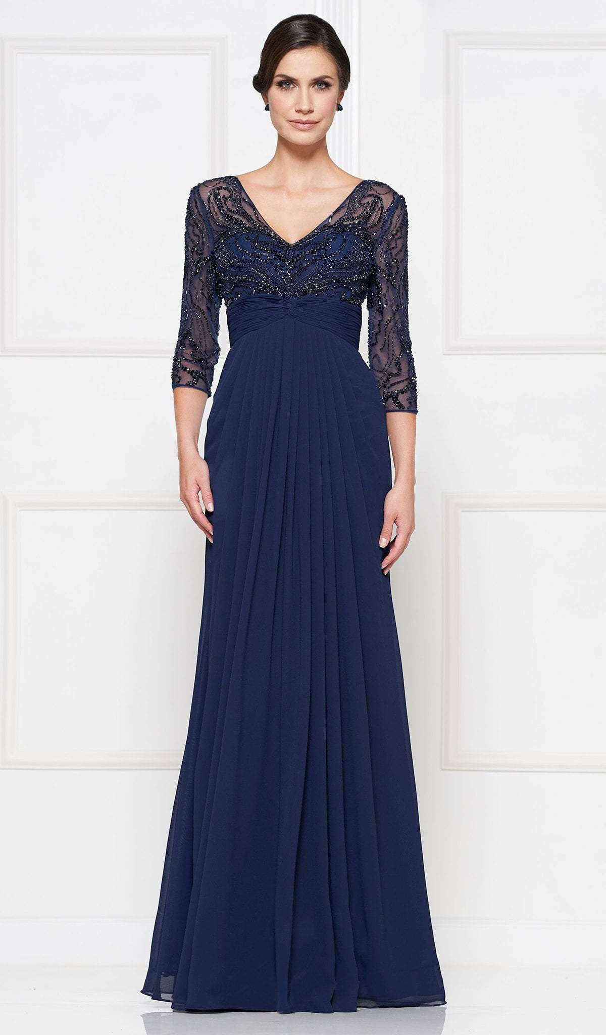 Rina Di Montella - RD2638 Embellished V-neck Pleated A-line Dress Special Occasion Dress 4 / Navy