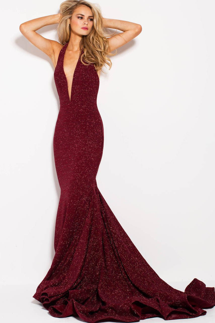 Jovani - 55414 Plunging Glitter Jersey Mermaid Gown in Red