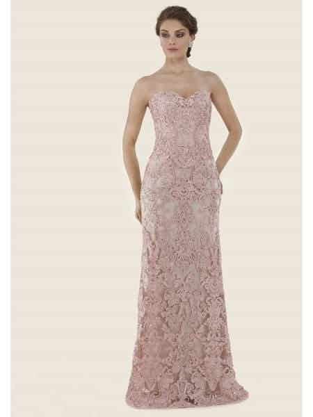 Rina di Montella - RD2624-1 Lace Embroidered Sweetheart A-line Gown Special Occasion Dress 18 / Rose
