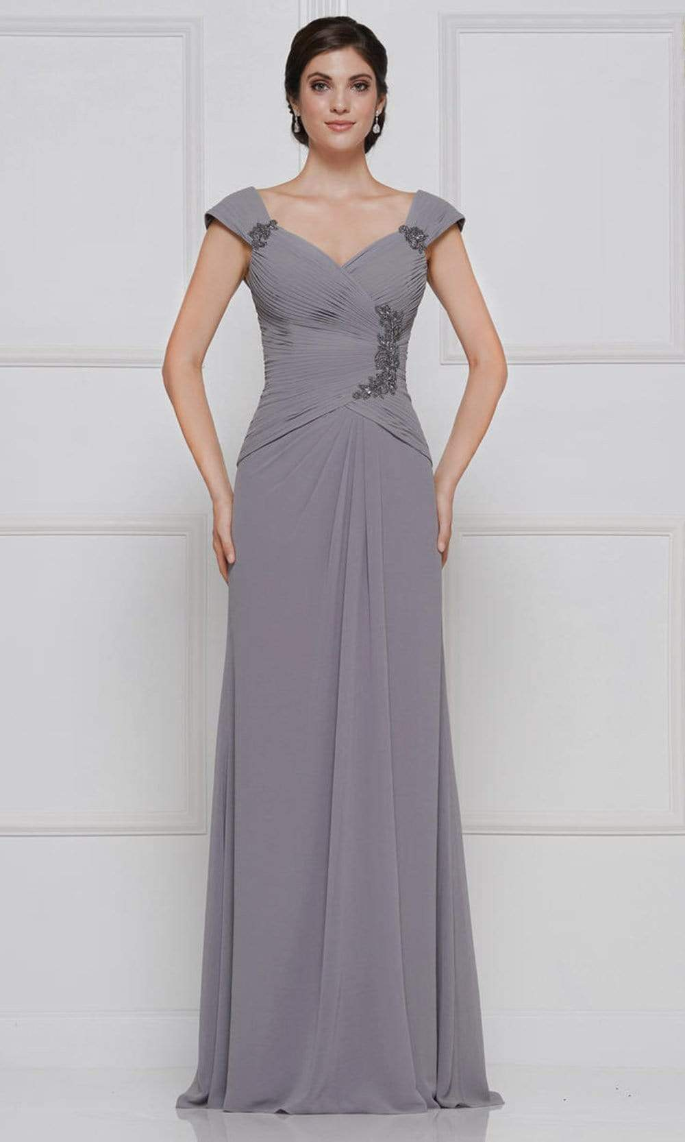 Rina Di Montella - RD2633 Embroidered V Neck Sheath Dress Mother of the Bride Dresses