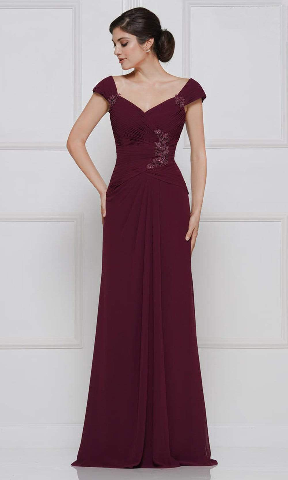 Rina Di Montella - RD2633 Embroidered V Neck Sheath Dress Mother of the Bride Dresses 4 / Burgundy