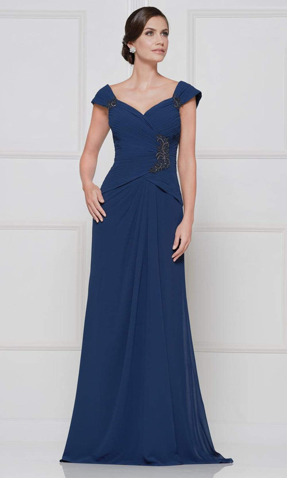 Rina Di Montella - RD2633 Embroidered V Neck Sheath Dress Mother of the Bride Dresses 4 / Navy