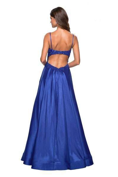 La Femme - 27222 Sleeveless Lace Applique Mikado A-Line Gown In Blue