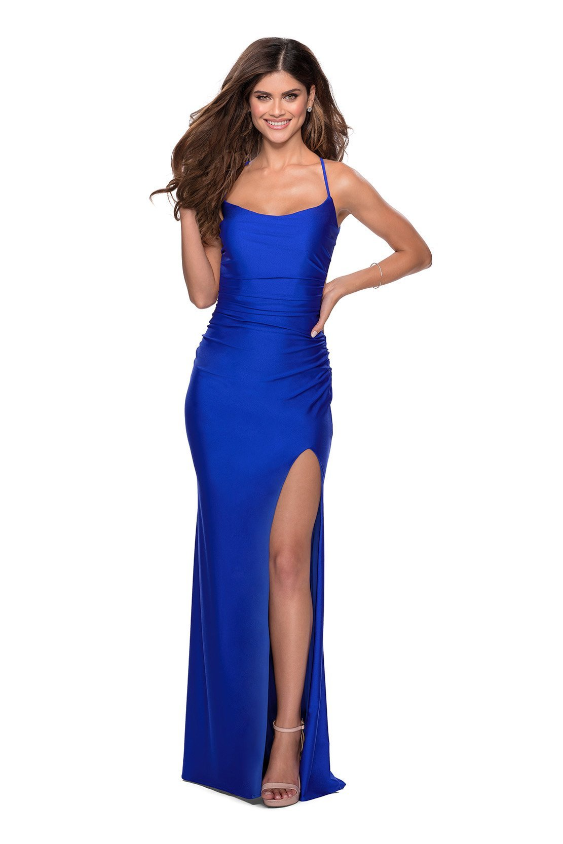 La Femme - Long Tie-Up Back High Leg Slit Dress 28296SC In Blue