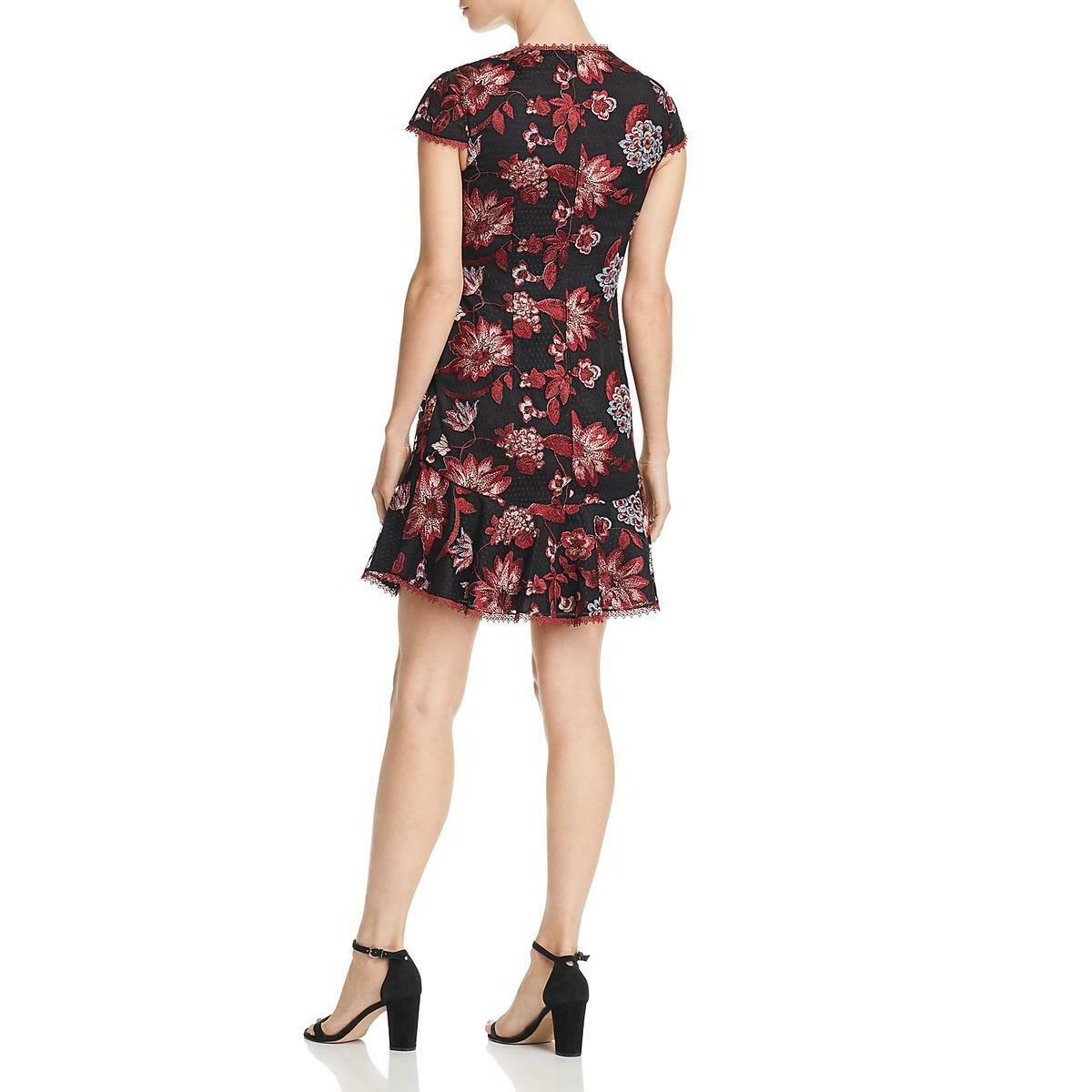 Aidan Mattox - MN1E202938 Floral Bodice Cap Sleeves Short Dress In Red and Black