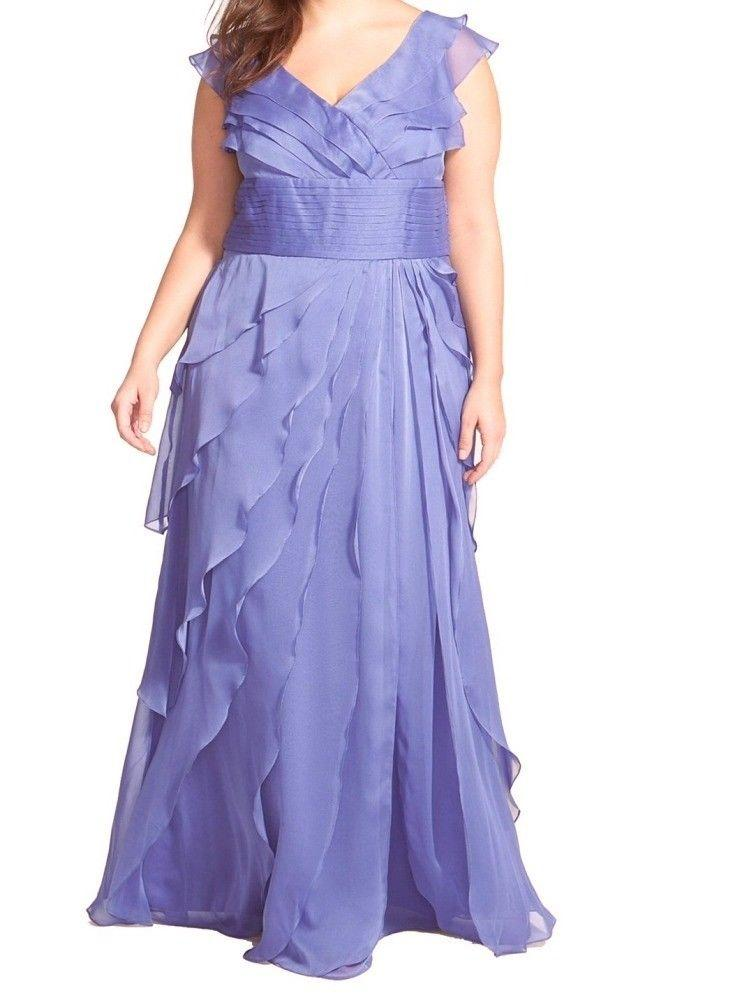 Adrianna Papell - 81844461 Cap Sleeve Tiered Chiffon A-Line Gown in Purple