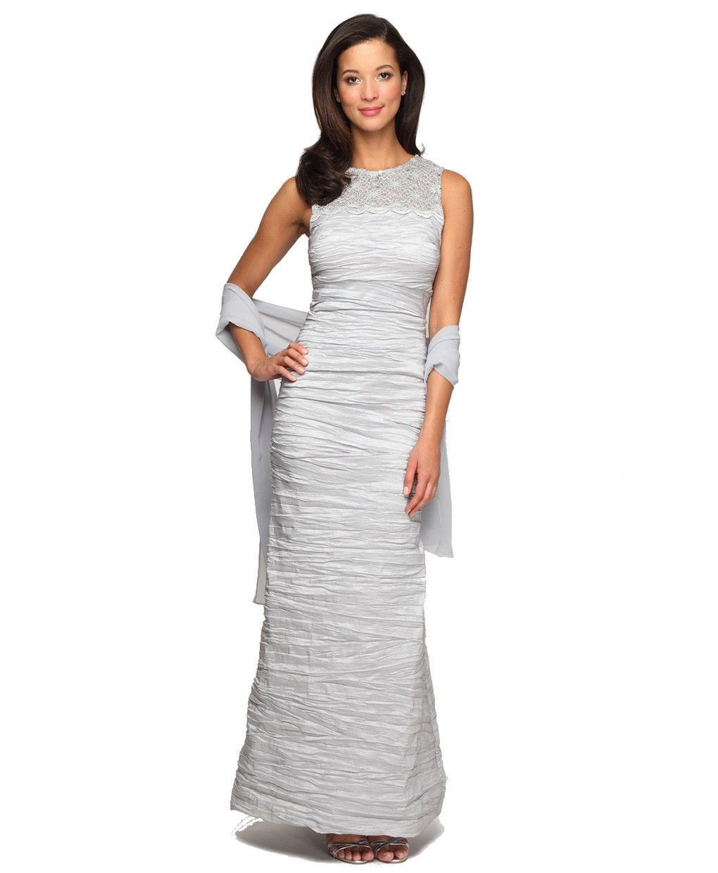 Alex Evenings - 166390 Illusion Lace Ruche-Textured Sheath Gown in Silver