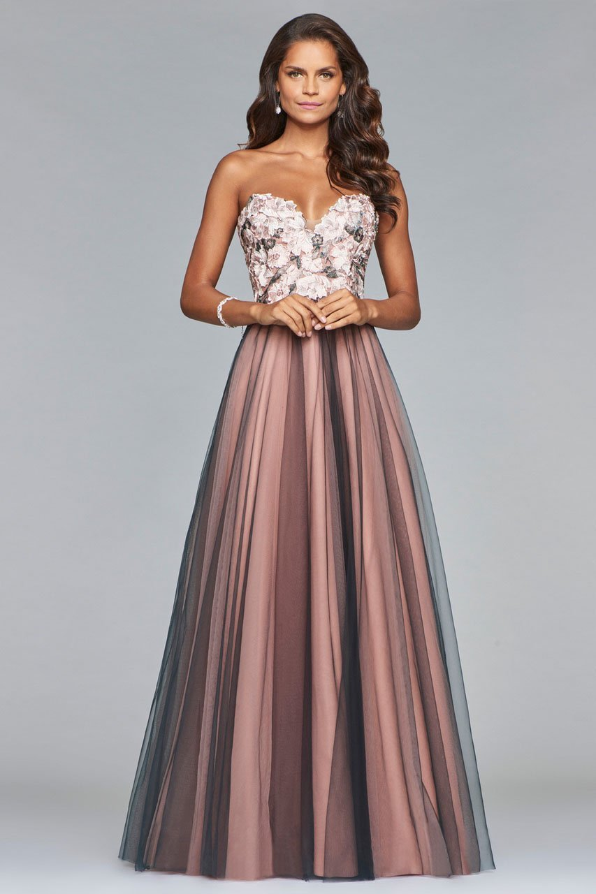 Faviana - Floral Applique Sweetheart A-line Evening Dress s10023 In Pink and Gray