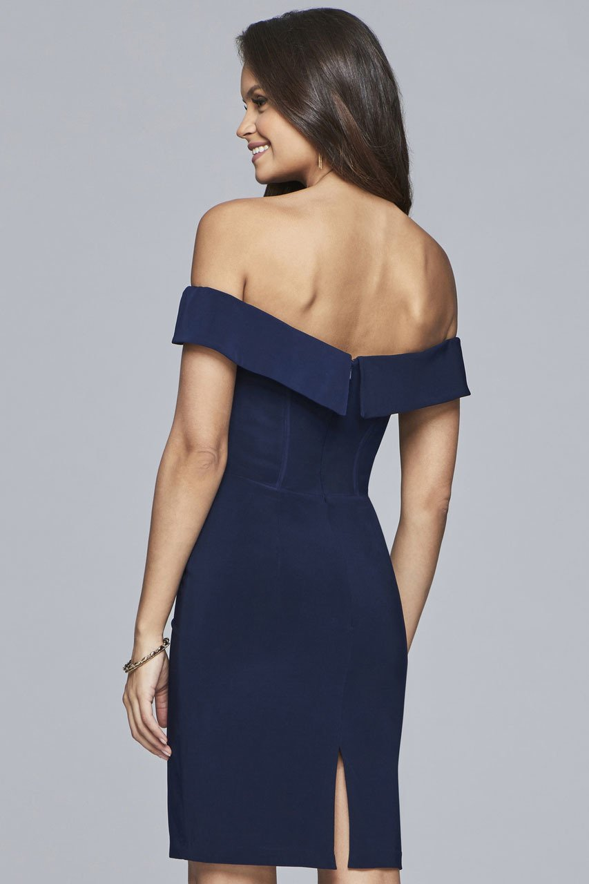 Faviana Off The Shoulder Jersey Cocktail Dress S10162 - 1 pc Navy In Size 2 Available In Blue
