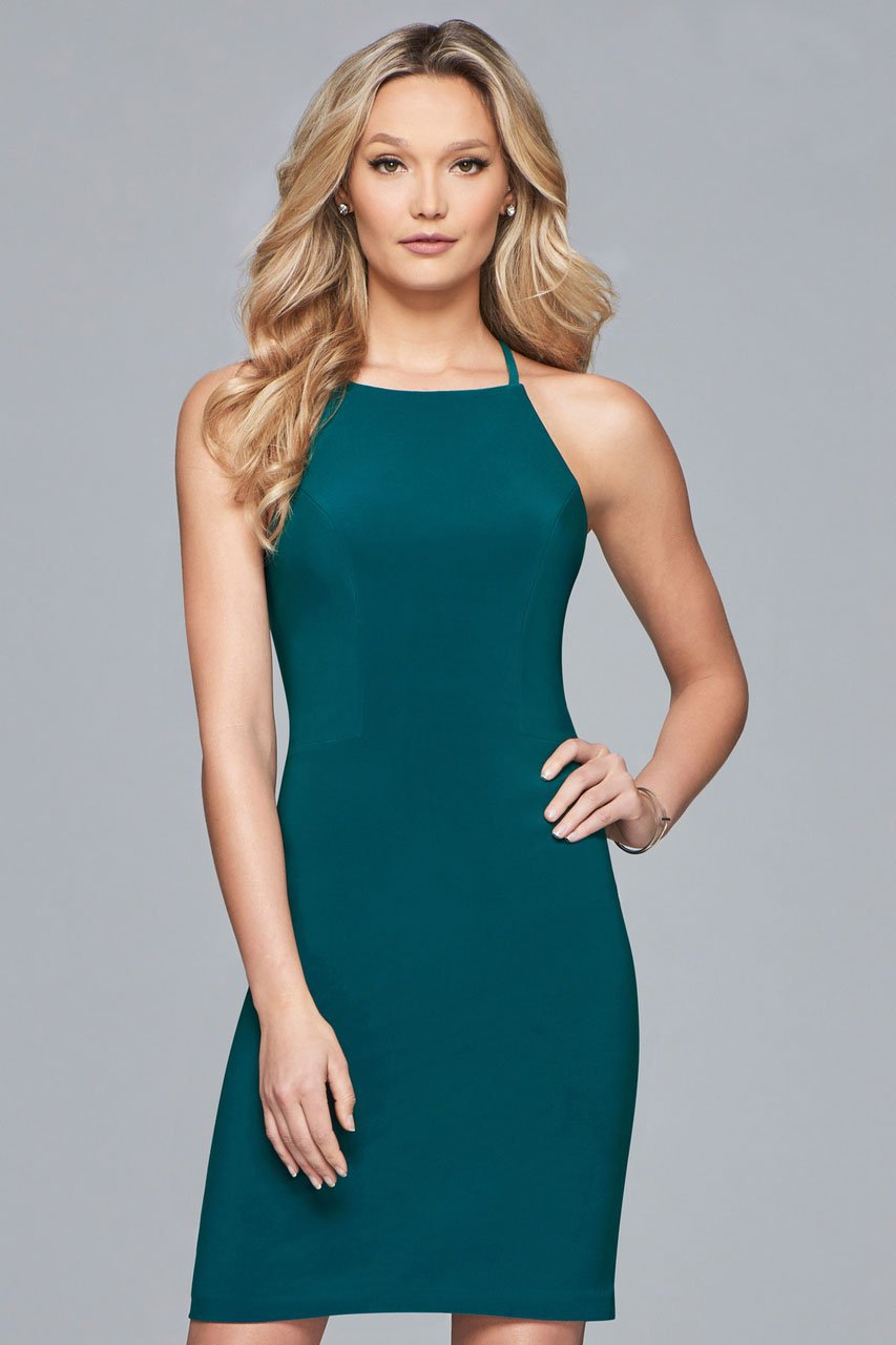 Faviana - S10166 Strappy Halter Sheath Cocktail Dress in Green