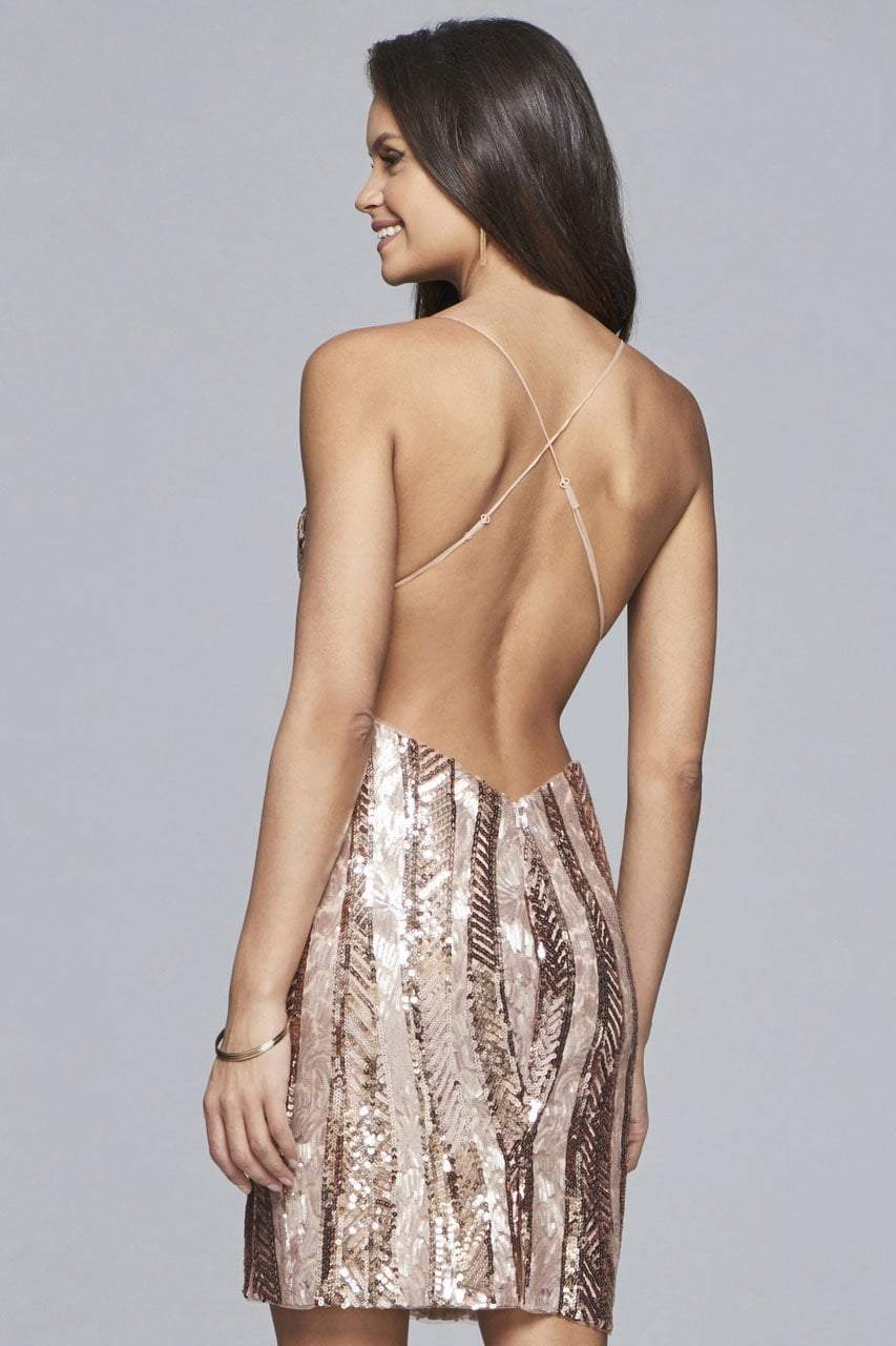 Faviana - S10171 Short Sequined Deep V-neck Sheath Dress in Pink and Gold