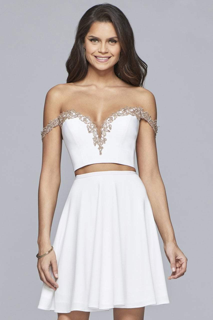 Faviana - S10179 Two-Piece Off Shoulder Cocktail Dress in White