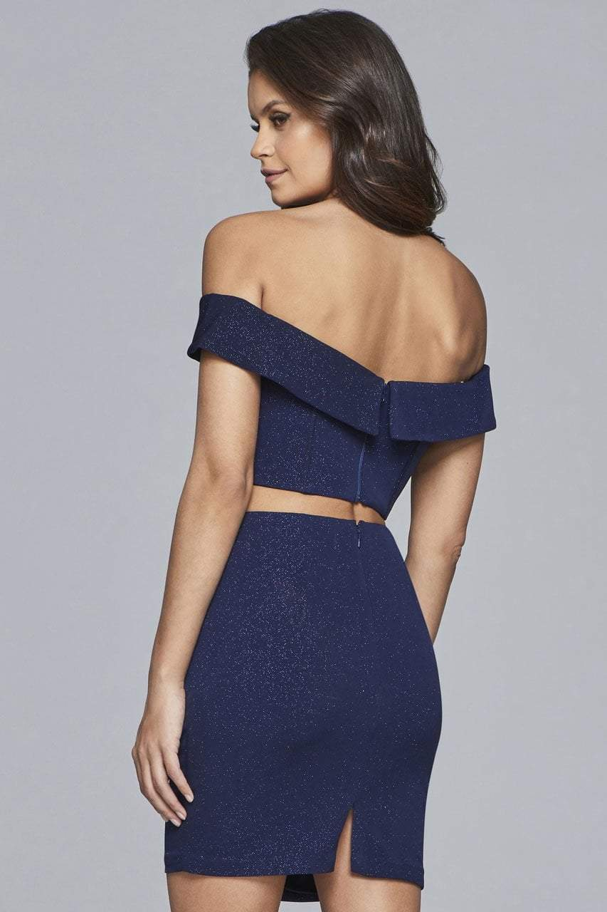 Faviana - S10180 Two-Piece Glitter Jersey Cocktail Dress in Blue