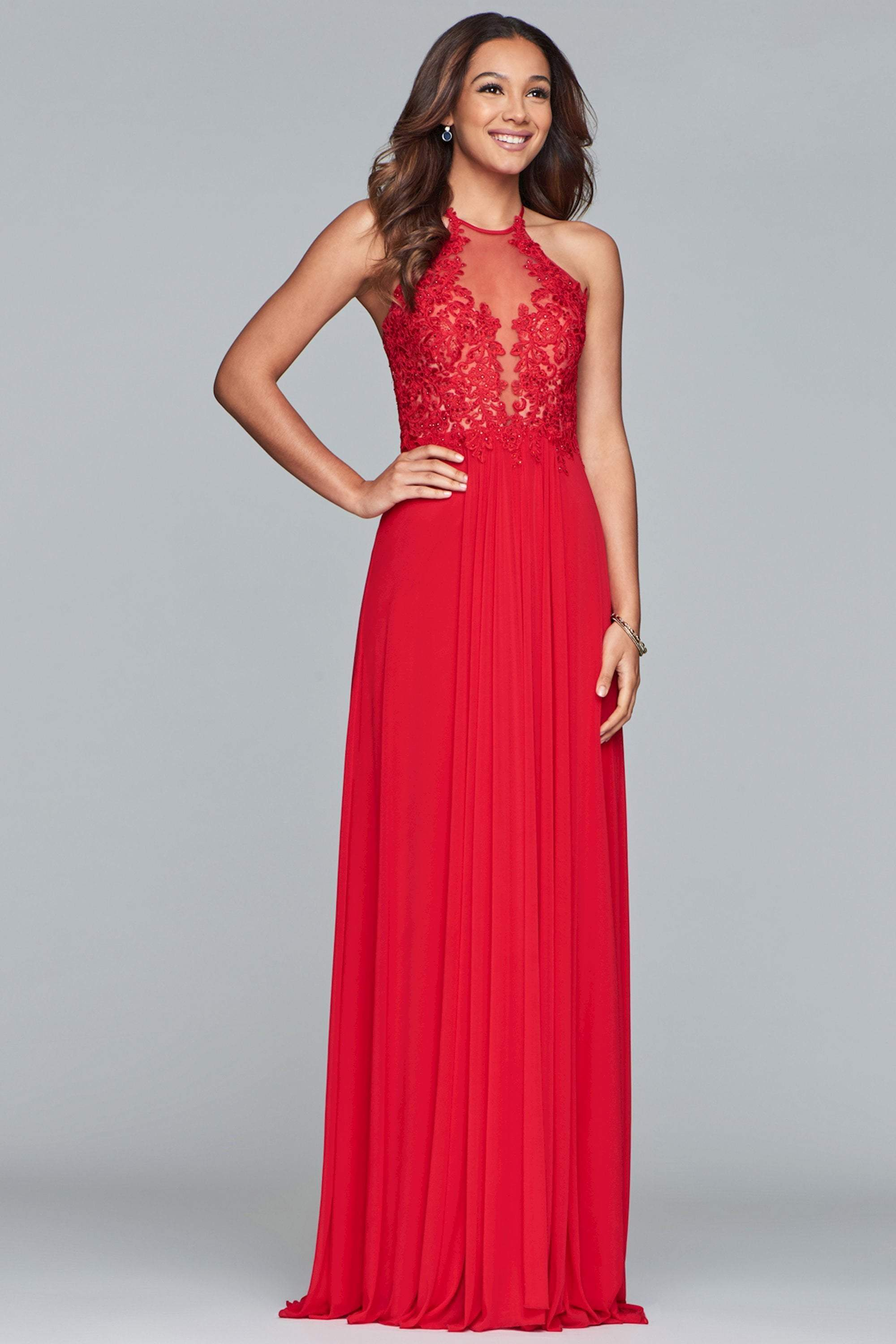 Faviana - Lace Appliqued Illusion Halter Evening Dress S10203  In Red