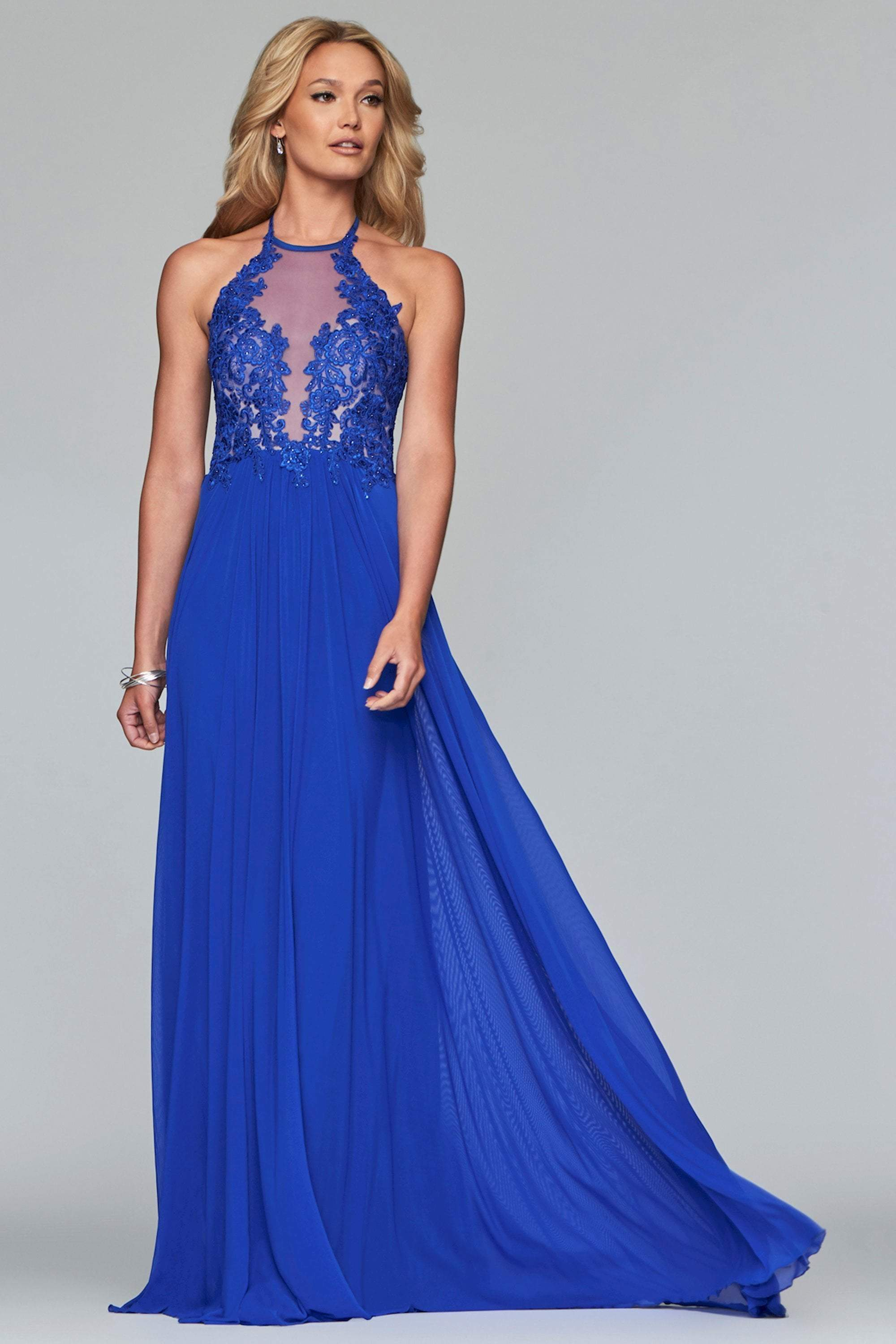 Faviana - Lace Appliqued Illusion Halter Evening Dress S10203  In Blue