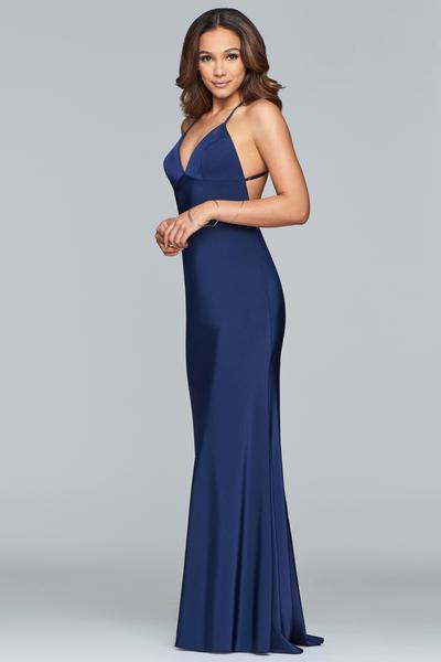 Faviana - V-neck Crisscross Open Back Satin Evening Gown S10214 In Blue