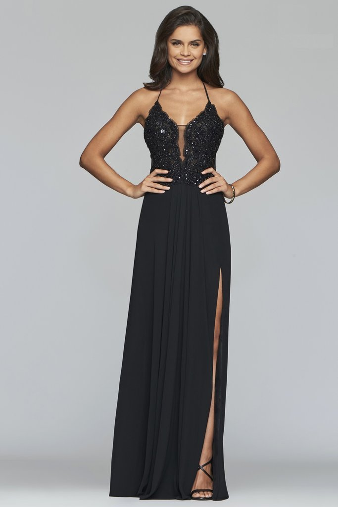 Faviana  - S10228 Beaded Scallop Lace Halter Chiffon A Line Dress In Black