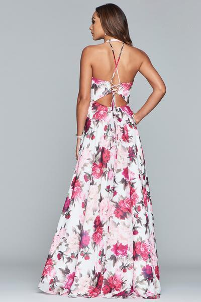 Faviana - Floral Halter A-Line Evening Gown S10278 In White and Red