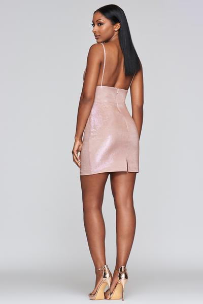 Faviana - S10350 Plunging V-neck Sheath Cocktail Dress In Pink
