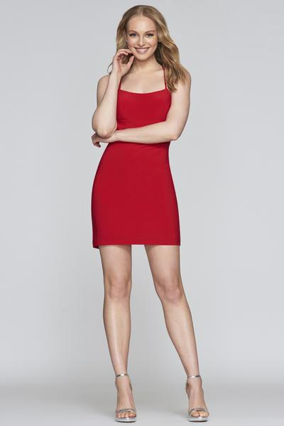 Faviana - S10356 Halter Stretch Jersey Sheath Dress In Red