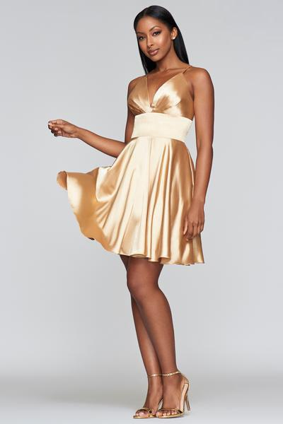 Faviana - S10363 Pleated V-neck A-line Cocktail Dress In Gold