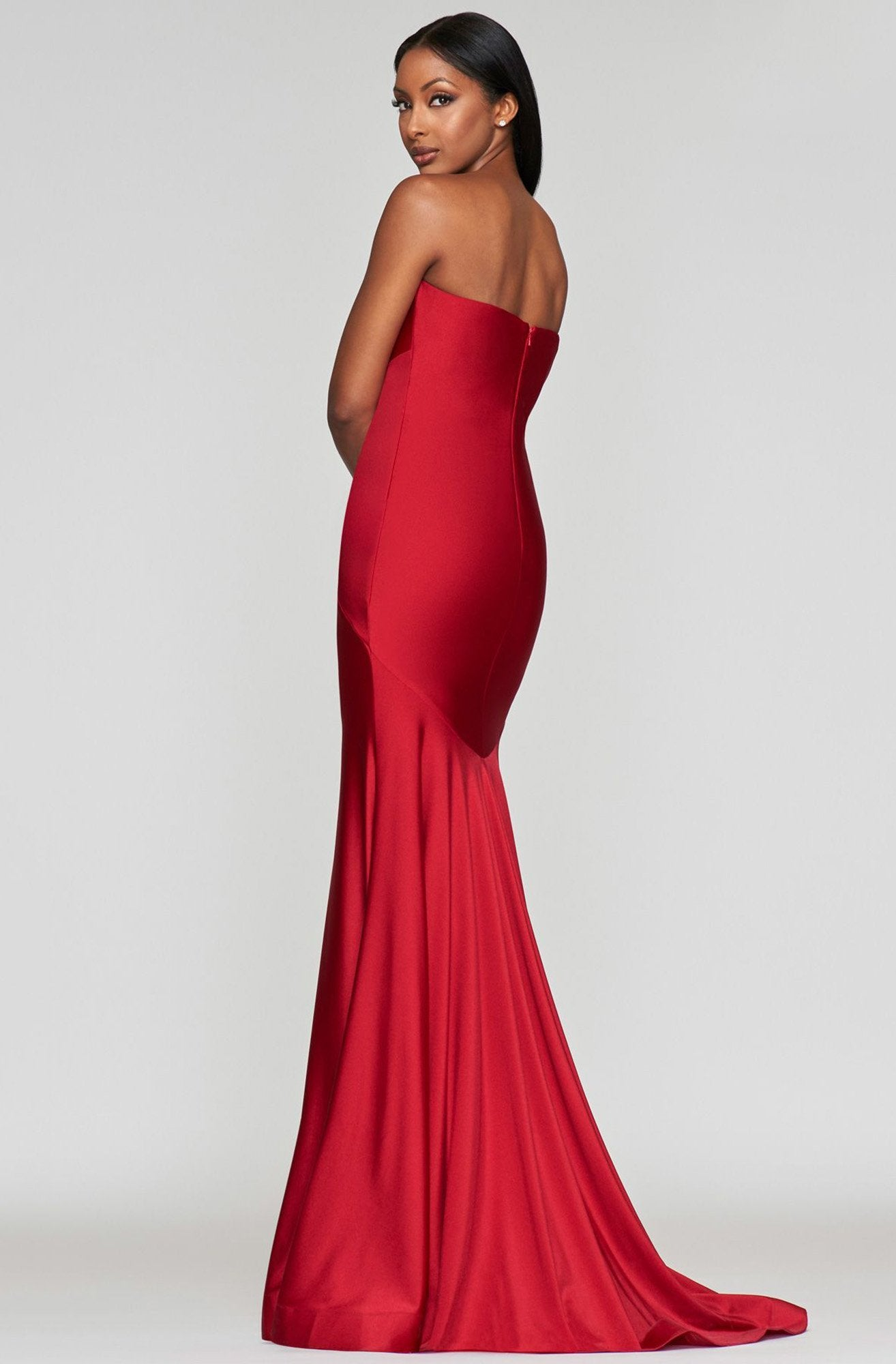 Faviana - Long Stretch Charmeuse Dress S10381 In Red