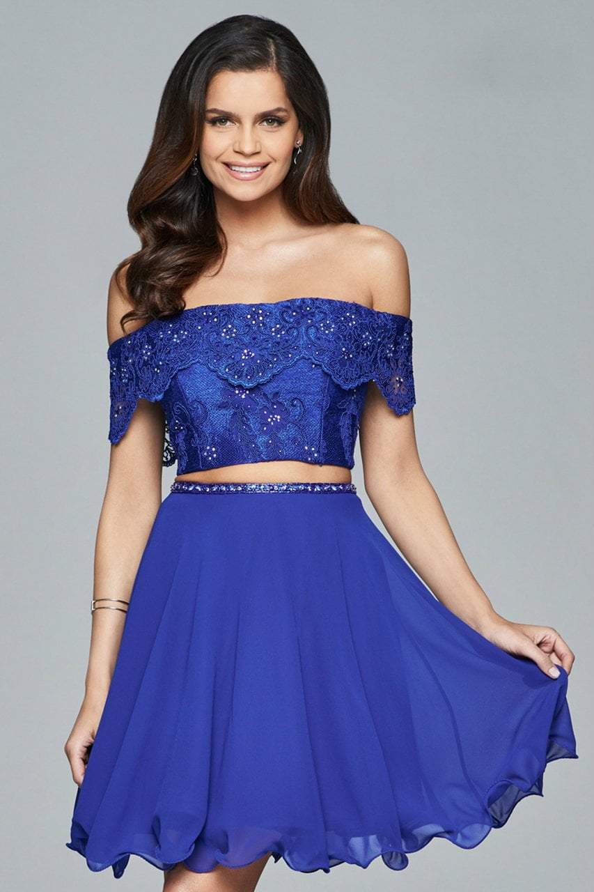 Faviana - Two-Piece Lace Short Dress s8065 in Blue