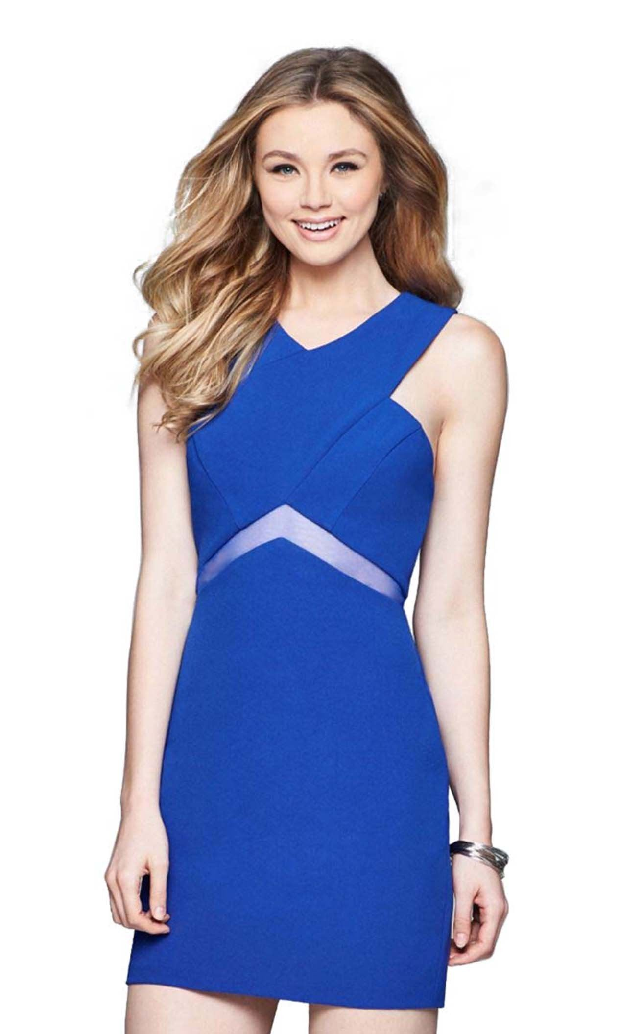Faviana - Sleeveless V-Neck Short Crepe Dress s8078 in Blue