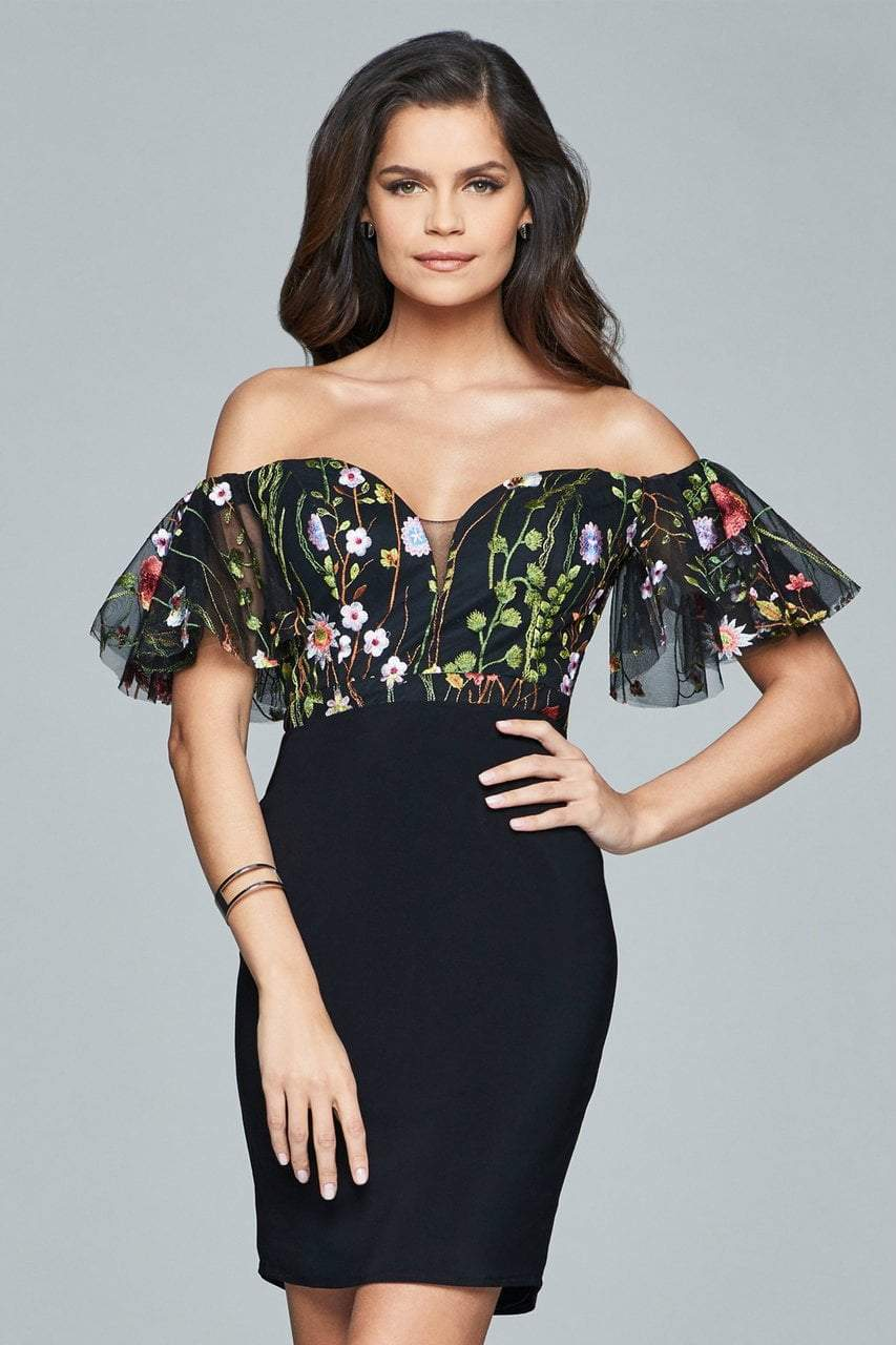 Faviana - Embroidered Jersey Cocktail Dress s8081 in Black