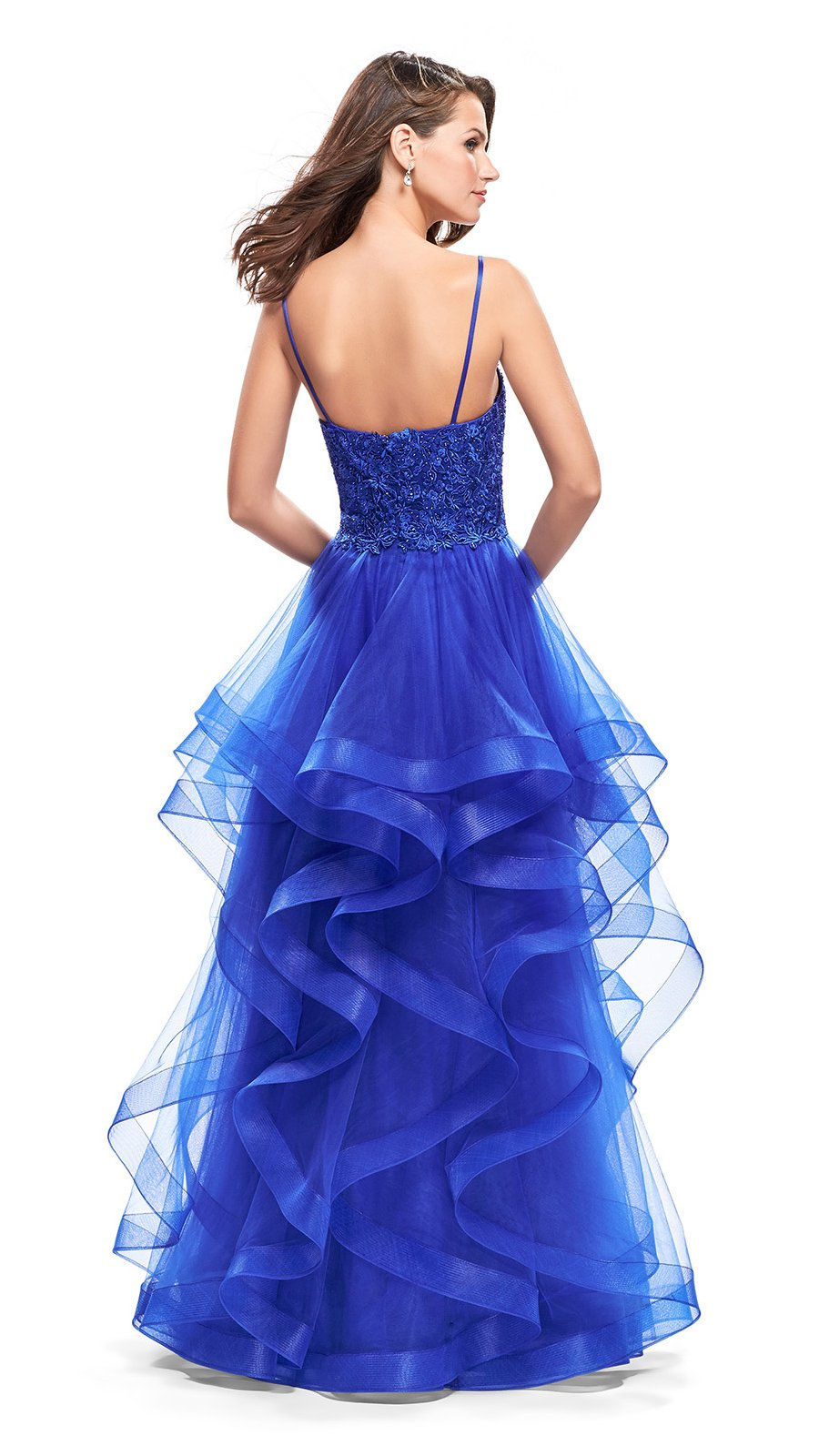 La Femme - 25857SC Plunging Sweetheart Lace Bodice A-Line Dress