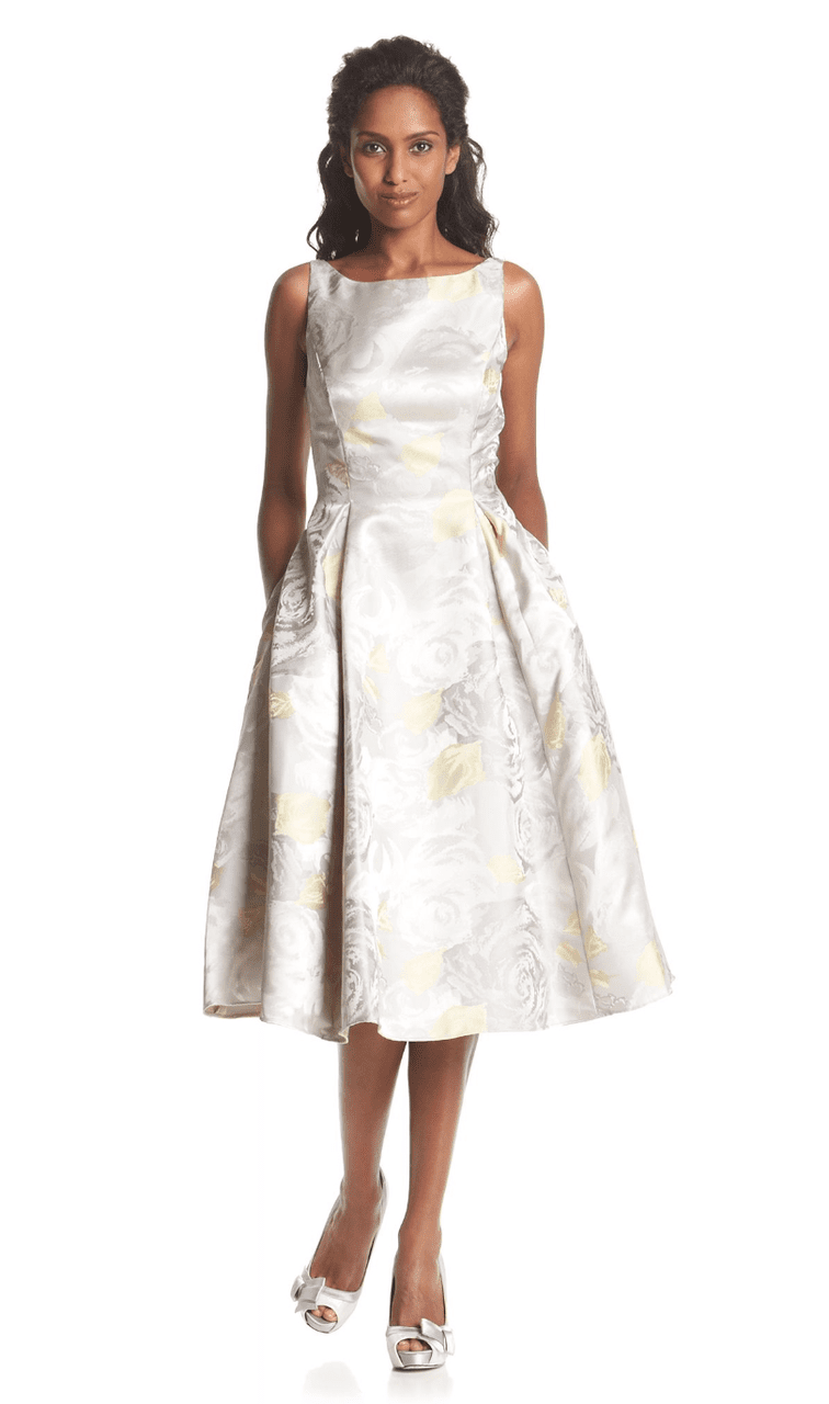 Adrianna Papell - 41889270 Tea-Length Jacquard Floral Print Dress in Silver and Floral