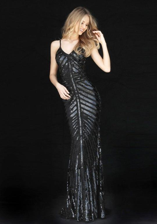 Sherri Hill - Sleeveless V Neck Fitted Beaded and Sequined Dress 51206 In Black