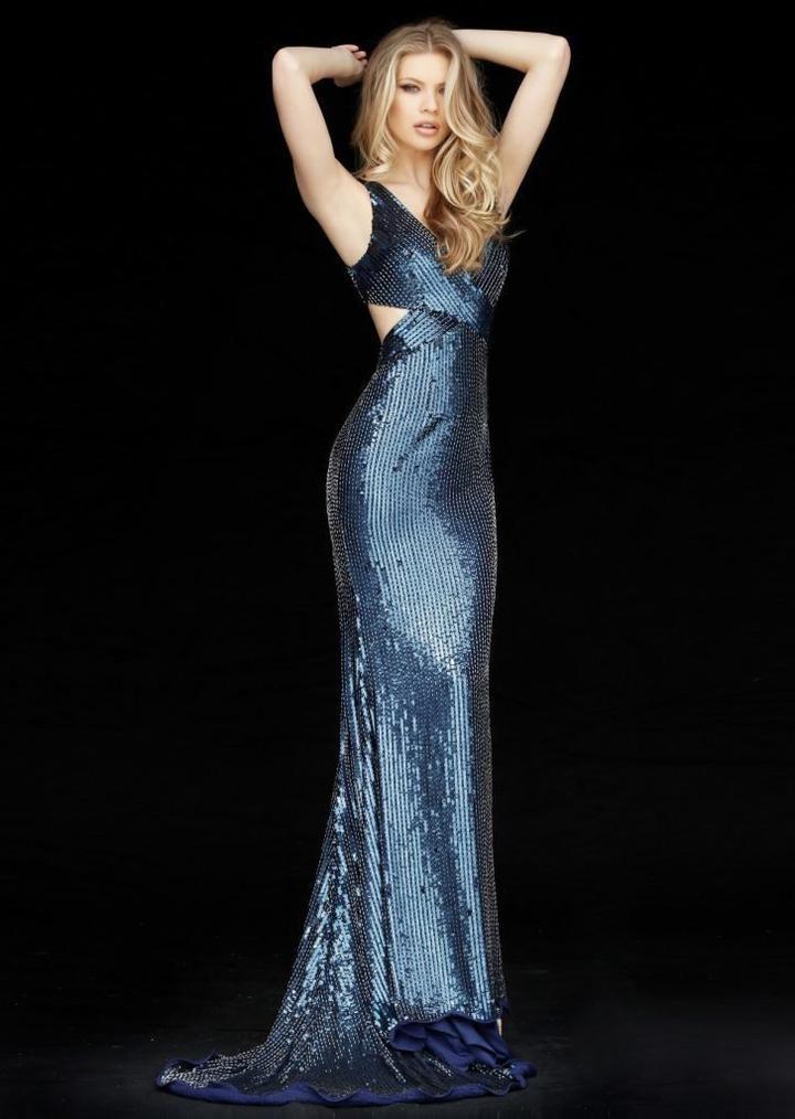 Sherri Hill - Beaded Plunging V-neck Sheath Dress 51364 In Blue
