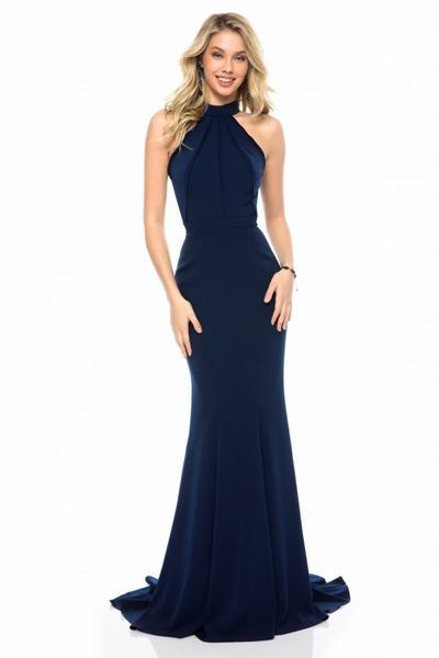 Sherri Hill - High Halter Mermaid Evening Dress 51682 in Blue