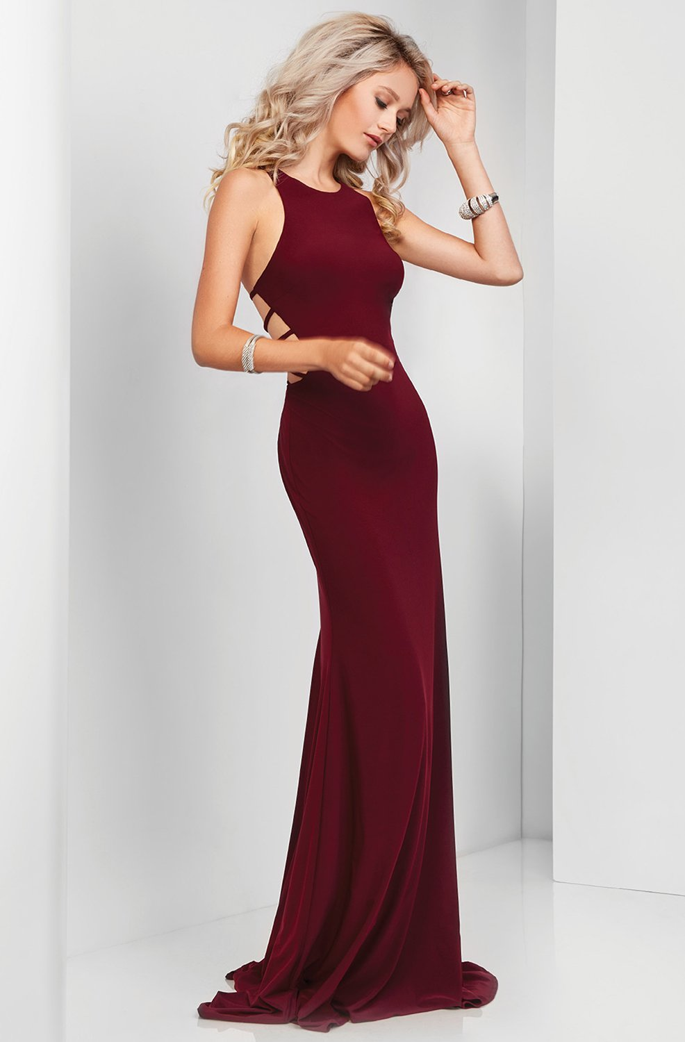 Clarisse - 3459 Strappy Jewel Sheath Dress in Red
