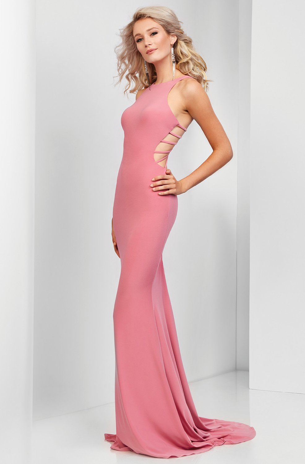 Clarisse - 3459 Strappy Jewel Sheath Dress in Pink