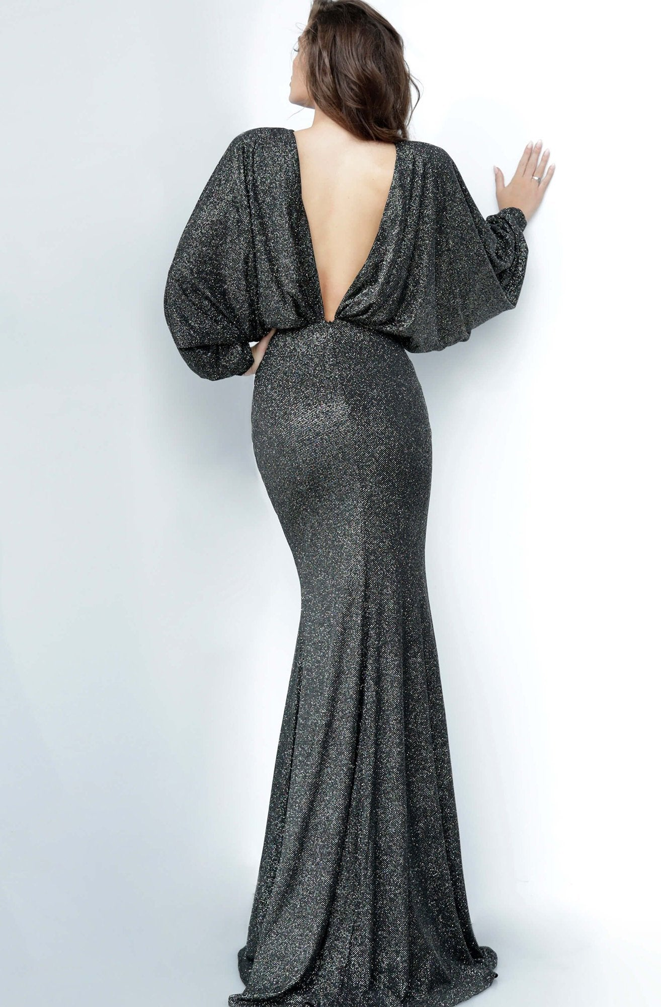 Jovani - 1748 Bateau Long Sleeves Sheath Dress In Black and Multi-Color