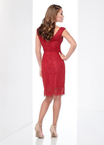 Social Occasions by Mon Cheri - 218804 Ruched V-Neck Cocktail Dress In Red